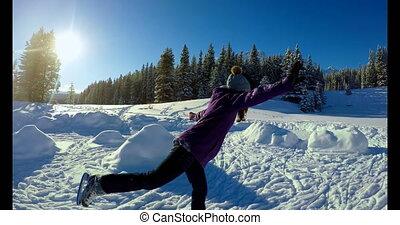 Woman skating on snowy landscape 4k - Woman skating on snowy...