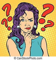 woman skeptical facial expressions face. Pop art retro vector illustration kitsch vintage