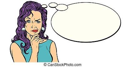 woman skeptical person mimics comic balloon