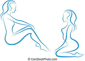 woman sketch, vector - beautiful nude woman silhouettes,...