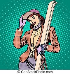 Woman skier winter pop art retro style. The winter sports....