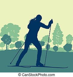 Woman skiing in forest vector background landscape