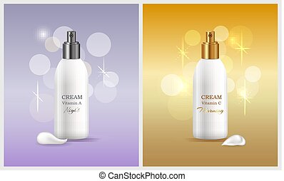 Woman Skin Care Products, Vector Illustration