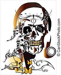 woman & skull