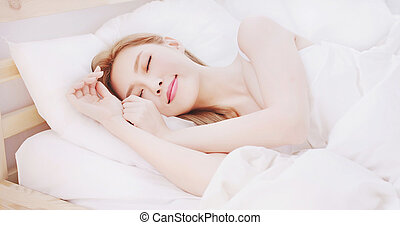 woman sleep on the bed