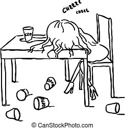 woman sleep with coffee on table -