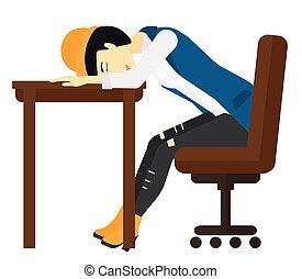 Woman sleeping on table. - An asian woman sleeping on table...