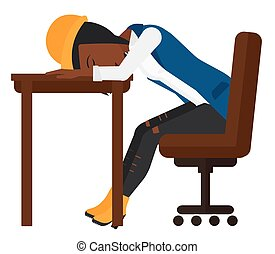 Woman sleeping on table.
