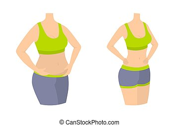 Woman slimming body.