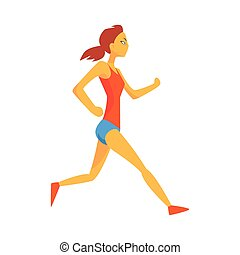 Woman Slowly Running Warming Up, Female Sportsman Running The Track In Red Top And Blue Short In Racing Competition Illustration