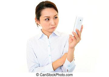 woman., smartphone