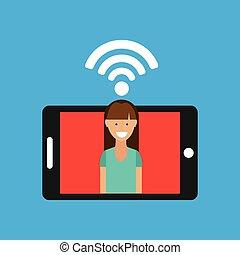 woman smartphone internet wifi free icon