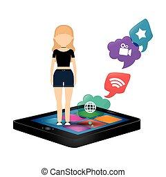 woman smartphone social media bubble speech