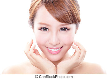 woman smile face and health teeth