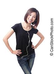woman smile happy listening music