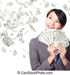 woman smile happy with handful of money