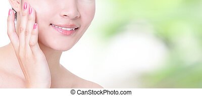 woman smile mouth with health teeth close up