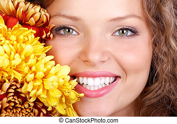 Woman smile - Smiling young woman face with perfect teeth....