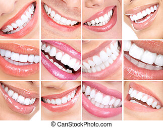 woman smiles  - Beautiful young woman teeth. Close up