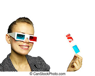 woman smiles in anaglyph points