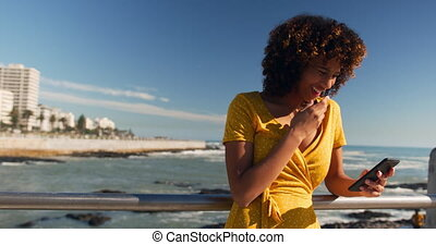 Front view of mixed race woman enjoying time by the seaside, using a smartphone on a sunny day with blue sky, smiling, slow motion