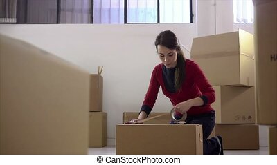 Woman smiling at home during move
