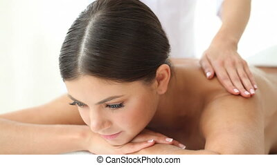 Woman smiling at spa session