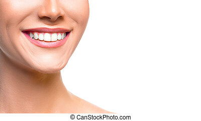 Woman smiling close up. Isolated on white.