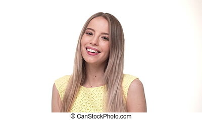 Woman smiling closeup portrait. Young business woman...