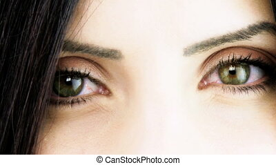woman smiling from eyes to closeup