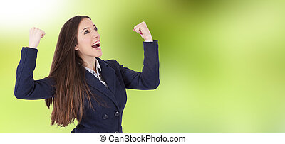 woman smiling happily with enthusiasm