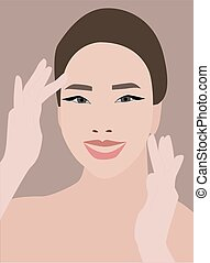 Woman smiling, illustration, vector on white background.