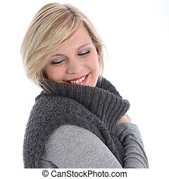 Woman smiling in bliss