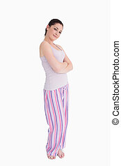 Woman smiling in pajamas