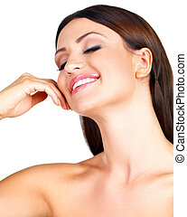 Woman smiling in pleasure - Beautiful young woman with naked...