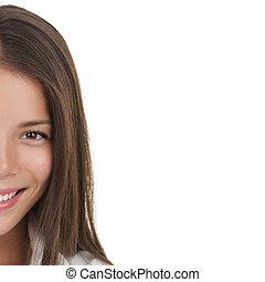 woman smiling portrait on white