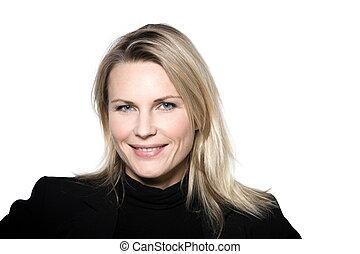 woman smiling portrait studio - beautiful blond hair woman ...