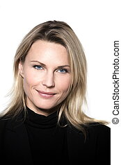 woman smiling portrait studio - beautiful blond hair woman...