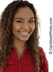 Stock image of woman smiling with braces, over white background