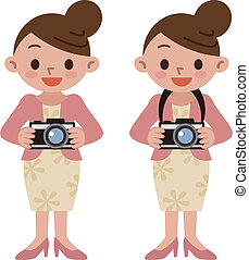 Woman smiling with a camera