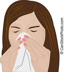 Woman sneezing vector illustration