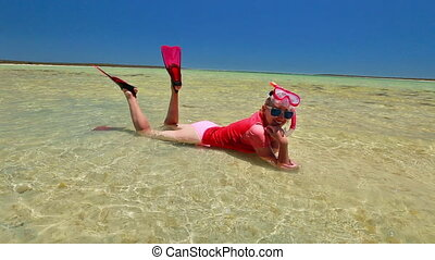 Woman snorkeler in Australia - Happy caucasian woman with...