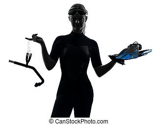 woman snorkeler swimmer silhouette