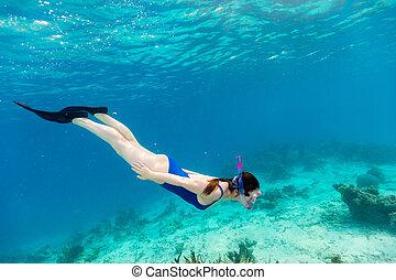 Woman snorkeling - Underwater photo of woman snorkeling in a...