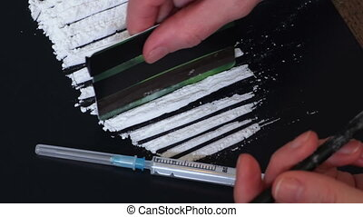 Woman snorting cocaine or amphetamines.Drug Abuse and Social Issues concept