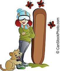 Woman Snowboarder, illustration