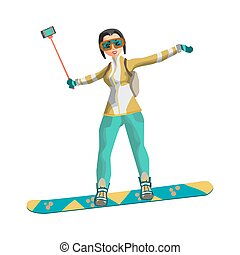 Woman snowboarding in mountains with a stick for a selfie. Winter sports vacation concept. Flat vector illustration isolated on white background