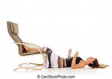 Woman sofa meditating