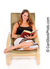 Woman sofa reading book