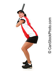 Female Softball Player Ready To Bat. Shot in studio over white with the Canon 20D.